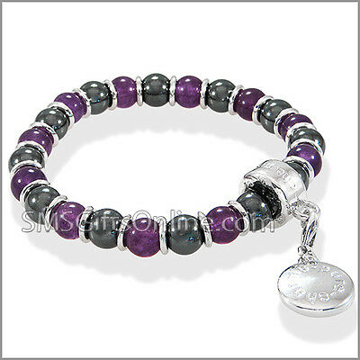 Magnetic Hematite Silver Tone with Purple Amethyst Charm Bracelet / Bangle