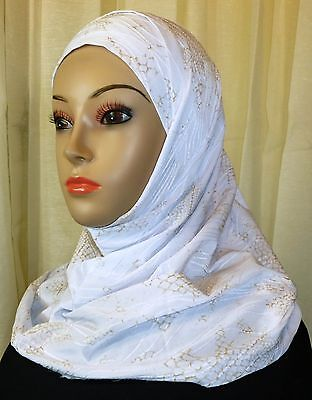 Best Quality Hijab Amira 2 Piece Fancy Pattern HeadScarf - White & Gold Color