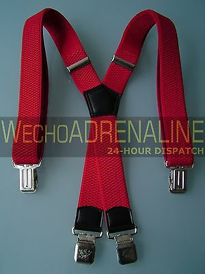 MENS MEN BRACES SUSPENDERS RED 40mm X-shape HEAVY DUTY BIKER DRIVER SKI TROUSERS