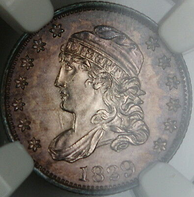 1829 Capped Bust Silver Half Dime, NGC UNC Details, Toned Gem BU Example BW