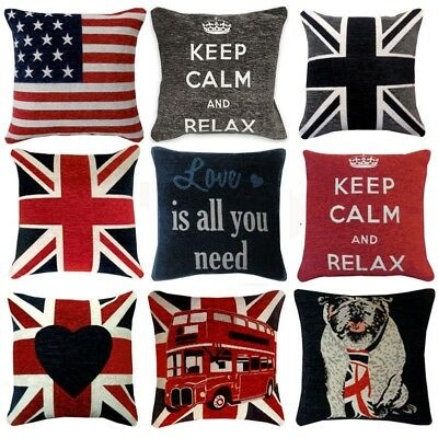"""UNION JACK Chenille Cushion Covers or Filled Cushions British Flag - 18"""" / 45cm"""