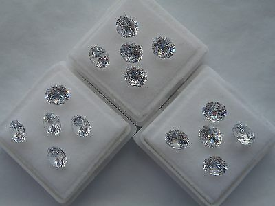 2x6mm round clear cubic zirconia loose gemstones