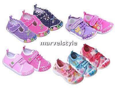 BABY GIRLS CANVAS SHOES - TRAINERS - FIRST SHOES UK size 4-7 /EU 20-24 COOL !
