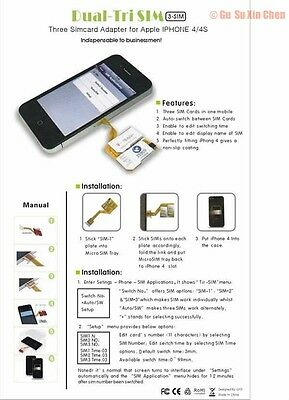 Genuine 3 simcard Triple Three Sim Card  holder Adapter Adaptor for I PHONE 4