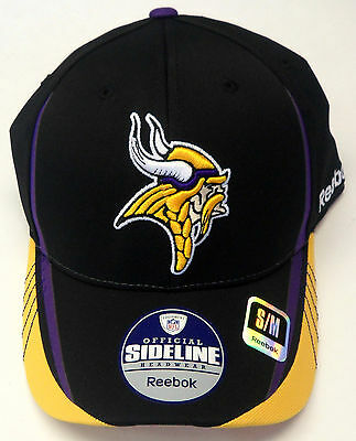 MINNESOTA VIKINGS REEBOK Curved Brim On Field Coaches 2Tone Flex Fit ... 7922085c8
