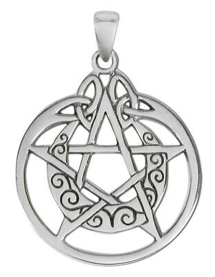 Sterling Silver Crescent Moon Pentacle Pentagram Pendant Circle Dryad Design