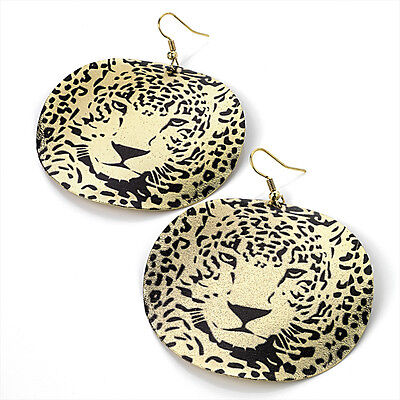 LARGE 6cm THIN DISC TIGER FACE PRINT DROP EARRINGS ROUND CIRCLE GOLD COLOUR 70s