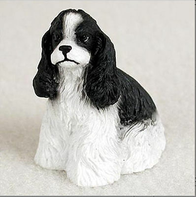 Cocker Spaniel Collectible Mini Resin Hand Painted Dog Figurine Black/White