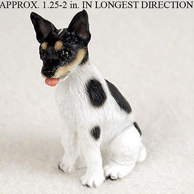 Rat Terrier Mini Resin Hand Painted Dog Figurine