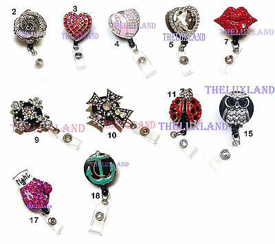 Rhinestone Crystal reel retractable ID badge holder for Nurse Airline Heart Rose