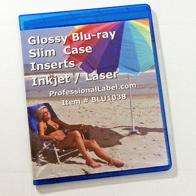 Glossy Blu-ray Slim Case Insert Covers Wraps 100 sheets Laser or Inkjets BLU1083
