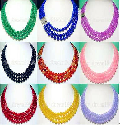 Beautiful 3 Strands rows Lady' 8mm Jade Agate Necklace 9 Color Selectable