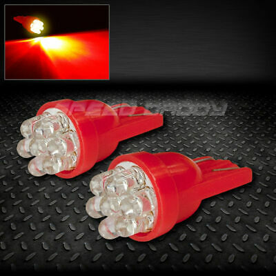 PAIR T10 194 168 501 W5W RED INTERIOR DOME WEDGE LIGHT BULB/BULBS w/7 X 3MM LED