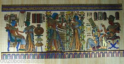 "8 Pharaoh Egyptian Gods Kings Original Hand Painetd Papyrus 48""X24""(120x60 Cm)"