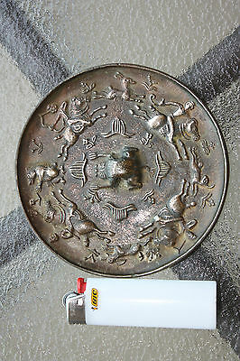 Chinese Bronze mirror, - 4 hunters, chasing 4 animals, D= 12 cm, Tang dynasty