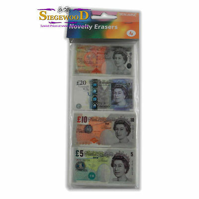 Novelty Money Bank Note Erasers - Pack of 4
