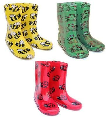 Kids Novelty Wellingtons In Bumble Bee, Ladybird And Frog Sizes 7,8,9,10,11,12