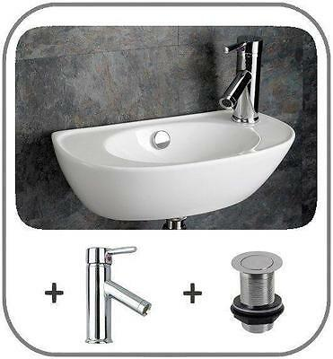 Space Saving Sink Wall Mounted Basin Cloakroom 44cm x 23cm Narrow Basin