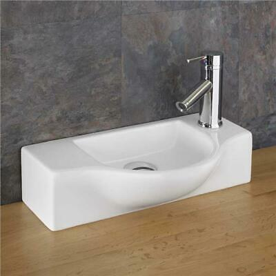 Narrow Sink 44cm x 24.5cm Space Saving Countertop Shaped Sink Cloakroom Basin