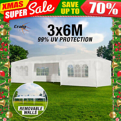 3x6m Gazebo Party Wedding Marquee Event Pavilion White Tent Shade Canopy Folding