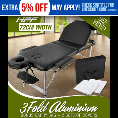 NEW HPF Black Portable 3 Fold Aluminum Massage Table Therapy Waxing Beauty Bed