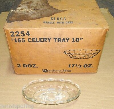 "Indiana Glass 2254 #165 17.5oz. CELERY TRAY 10"" CASE/24  FREE SHIPPING"
