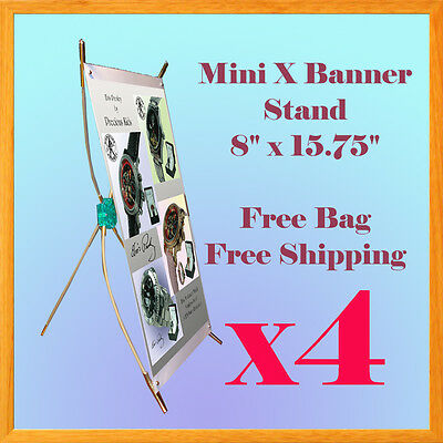 4 Pc  Mini X Type Banner Stand Counter Tabletop Trade Show Display Exhibition X4