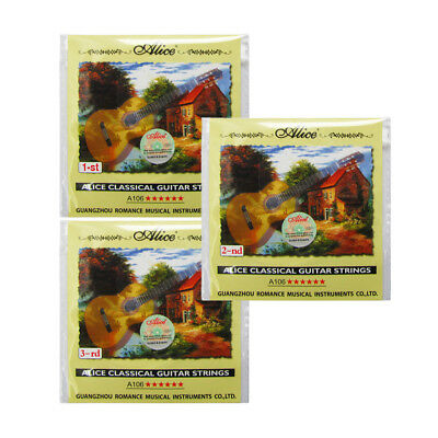 NEW Alice Classical Guitar Strings 1st/2nd/3rd Set E/B/G Clear Nylon Strings