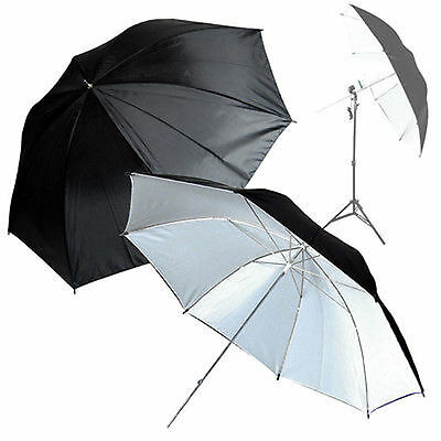 "Studio Photography 2x Photo Studio 52"" BLK/WHT Reflective Umbrella"