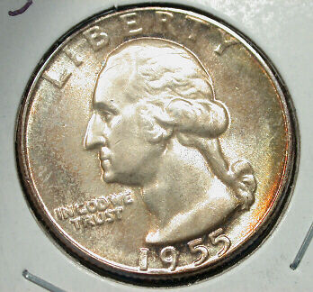 1955     GEM  BU    WASHINGTON  25c--PRETTY  TONING