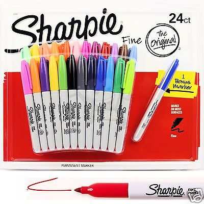24 SHARPIE Markers Coloured Permanent Sharpies Marker Pen Bulk Pack Fine Point