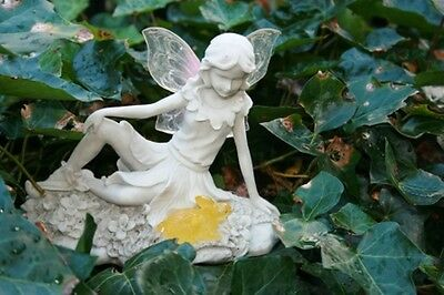 Beautiful Fern Fairy Garden Ornament with Solar Light up Wings and Rabbit