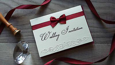 Handmade Traditional Wedding Invitations 10, 25 or 50 Embossed Cards + Envelopes