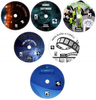 Computer Repair, Data Recovery, System Diagnostic, Drivers & Software Pack 6x CD
