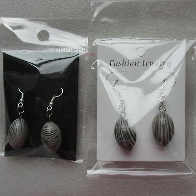 30, 50, 100 Black or White Earring Display Cards with Clear Packaging Pls Choose