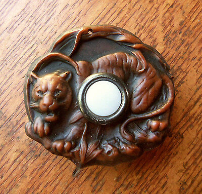 "New Victorian Figural ""Tiger"" Doorbell Button"