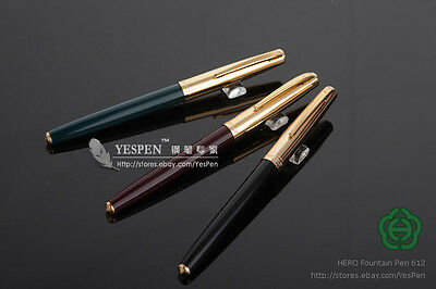 Classic HERO 612 Fountain Pens Hooded Nibs Golden Cap - Set Of 6 Black Green Red