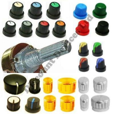 Aluminium And Plastic knobs for 6mm Shaft  Potentiometers  Switches  Encoders