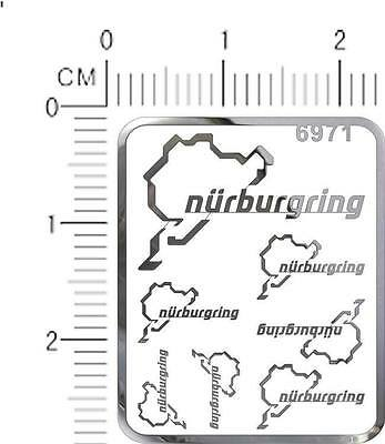 chrome(metal) decals NURBURGRING for different scales model kits (Silver) 6971