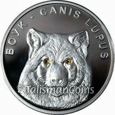 Belarus 2007 Lone Wolf 20 Rubles Pure Silver Proof w/ Golden Swarovski Crystals