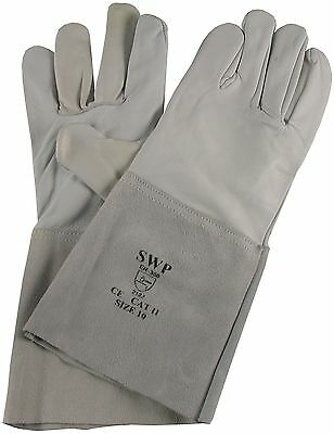 "Pack of 3 pairs Tig Welders Glove - Grey Goatskin with 6"" Leather Cuff"
