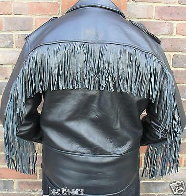 Mens Black Motorcycle Motorbiker Brando Perfecto Tassels Fringes Leather Jacket