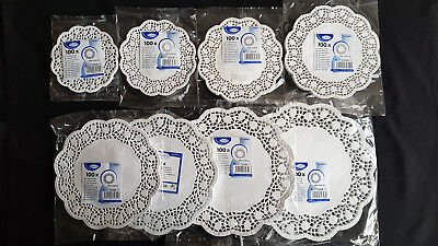 Doilies. 100 psc Round Lace Paper Plates on a Table. On a choice of 8 sizes. NEW