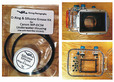 O-ring & Silicone Grease Kit for Canon WP-DC34 Diving Underwater Housing Case