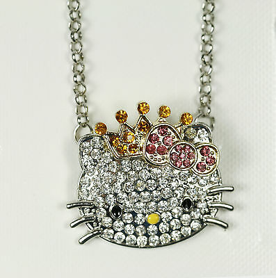 Hello Kitty Silver Pendant Pink Princess Crown Crystal Rhinestone Necklace 25""