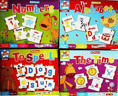 Childrens LETS LEARN Alphabet Numbers Spelling Time Puzzle Kids Words Jigsaw