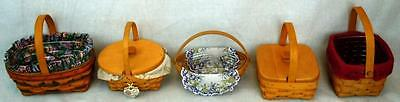 Lot of 5 Small Longaberger Baskets: 1997  Easter, 2006 Easter Crocus & Others