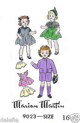 9023 Vintage Doll Clothes Wardrobe Pattern 16-inch for Shirley Temple Patsy Ann