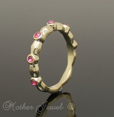 Lovely Yellow Gold Gp Ladies Girls Hot Pink Crystal Diamonte Stackable Ring Sz 6