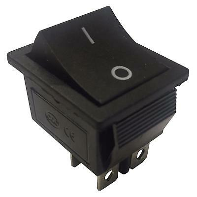 On-Off Momentary, Latching 4 Pins 2 Circuits Rocker Switch 16A 250VAC BLACK